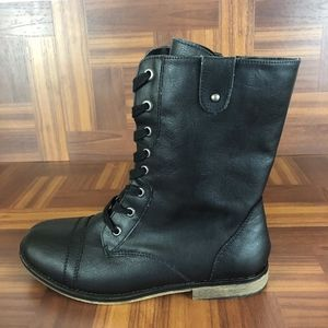 SUGAR Black JANA Lace-up Side Zip Moto Boots